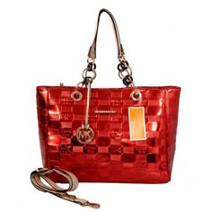 Michael Kors Logo Embossed Leather Large Red Totes