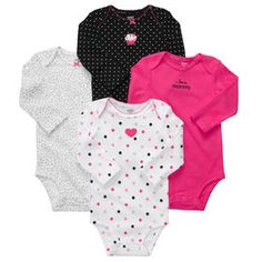 Long Sleeve 4-Pack Bodysuits  Carter baby clothes. I love them all but I really like the cheetah print one on the left:)