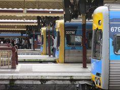 Three Comeng trains at Flinders Street Station South Australia, Western Australia, Brisbane, Melbourne, Corporate Identity Design, Light Rail, Rolling Stock, Tasmania, Public Transport