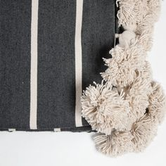 Moroccan Cotton Pom Pom Blankets Slate Grey and Natural Monochrome Interior, Cotton Blankets, Vintage Textiles, Soft Furnishings, Hand Weaving, Slate, Throw Pillows, Interiors, Interior