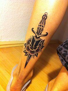 dagger & rose tattoo by sonka nawojka