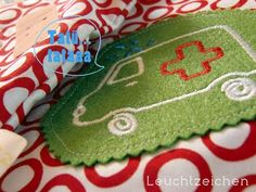 """""""Ambulance"""" from the """"Gingerbread"""" Collection at www.AnjaRiegerDesign.com here: http://anjariegerdesign.com/embroidery-designs/gingerbread.html #embroidery #crafts #DIY #ambulance #AnjaRieger"""