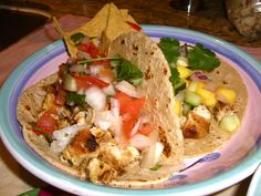 Cilantro Lime Chicken Tacos with Pico de Gallo and Mango-Cucumber Salsa