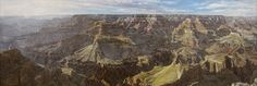 """Canyon Song""  Painting 2x6 ft.  Corporate collection    Studio painting of the expanse found only at the Grand Canyon. Rivers were captured at both sides from the head of the canyon. The colors and atmosphere in the rock formations was a joy to paint and trully reflected a ""song"" to me."