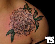 White peony tattoo