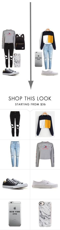 """""""Untitled #12"""" by stogtman on Polyvore featuring River Island, Tommy Hilfiger, Converse, Vans, Casetify, Herschel Supply Co., men's fashion and menswear"""
