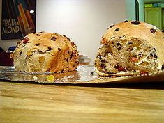 Barmbrack (Irish: báirín breac)[1] is a yeasted bread with added sultanas and raisins. Usually sold in flattened rounds, it is often served toasted with butter along with a cup of tea in the afternoon. The dough is sweeter than sandwich bread, but not as rich as cake, and the sultanas and raisins add flavour and texture to the final product. In Ireland it is sometimes called Báirín Breac, and the term is also used as two words in its more common version.