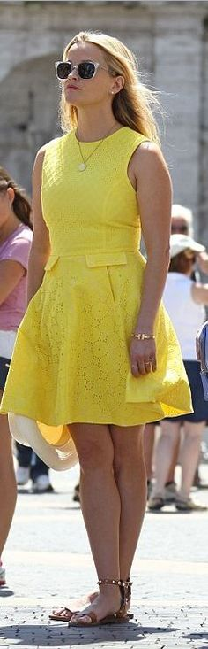 Who made  Reese Witherspoon's yellow lace dress, brown studded flat sandals, gold jewelry, and hat?