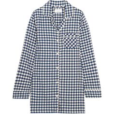 Three J NYC Audrey checked cotton-flannel nightshirt ($135) ❤ liked on Polyvore featuring intimates, sleepwear, nightgowns, midnight blue, flannel sleepwear, cotton sleepwear, cotton nightgowns, flannel sleep shirt and cotton sleepshirt