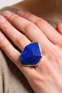 Lapis Lazuli Freeform Gemstone /& Sterling Silver Ring sz 7 Artisan original with rose cut faceted stone