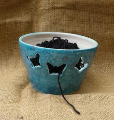 yarn bowl with butterflies