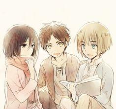 Mikasa Ackerman , Eren Jaeger and Armin Arlert