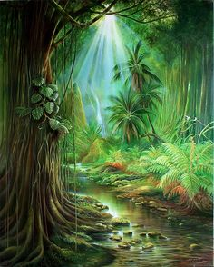 Tropical Art, Tropical Birds, Waterfall Paintings, Fantasy Background, Landscape Paintings, Landscapes, Beautiful Paintings, Oeuvre D'art, Les Oeuvres