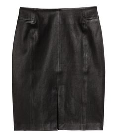 PREMIUM QUALITY. Leather pencil skirt with a slit at front and concealed zip at back. - Visit hm.com to see more.