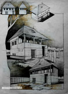Southern Romanian Traditional House. Quite interesting to draw - love the way you need to understand how wood structures work so you get a good drawing. Pencil + Crayons on 50x70 Standard Paper, 8 Hours Completion Time #architecture #architect #rendering