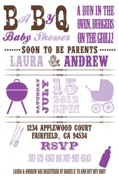 Printable Baby Q BBQ Baby Shower 4x6 or 5x7 by PuzzlePrints, $13.00