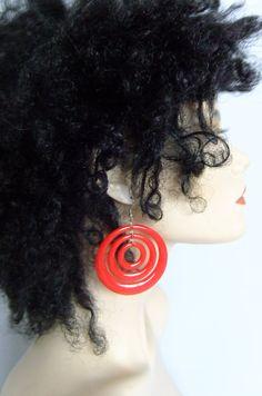red 60s plastic earrings / hoop earrings / by vintage2049 on Etsy