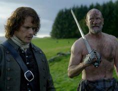 "Jamie Fraser (Sam Heughan) and Dougal (Graham McTavish) in Episode 209 ""Je Suis Prest"" of Outlander Season Two on Starz via https://outlander-online.com/2016/06/04/1680-uhq-1080p-screencaps-of-episode-2x09-of-outlander-je-suis-prest/"