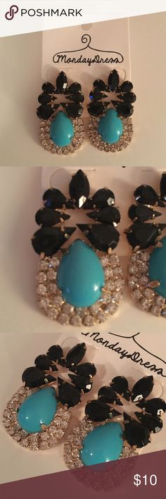 Brand new statement earrings These brand new, never worn statement pierced earrings would be perfect for your next formal event! These costume earrings feature a turquoise tear drop shape topped with faceted black stones and surrounded by rhinestones. Monday Dress Jewelry Earrings