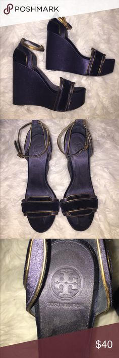 Blue satin and velvet Tory Burch wedges Dark navy blue with bronze trim | Tory Burch | size 9 | Satin and velvet material | Platform wedge | Gently worn Tory Burch Shoes Wedges