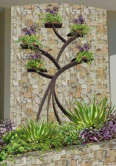 diseño de jardines contemporaneos - mampara arbol de la vida