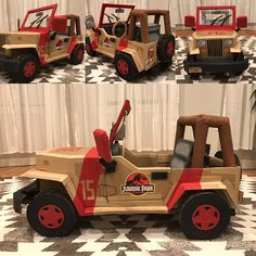 Jurassic Park jeep made of cardboard boxes