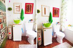 Banheiro com lambe lambe Blog Remobília - Decoração Divertida e Alternativa