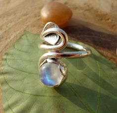 Rainbow Moonstone sterling silver ring artisan by SelinofosArt