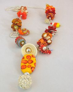 Halloween and Candy Corn Lampwork Bead Necklace by carolmurray, $70.00