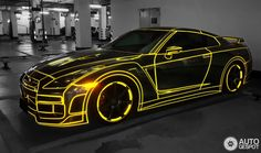 The underground tuning scene just burst out of the shadows with this #Nissan #GTR, wrapped in what could only be described as pure glow-in-the-dark awesomeness