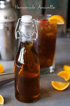 If you love the classic almond liqueur Amaretto, then you will swoon over this Homemade Amaretto Recipe. It's quick & easy to make & is a great holiday gift! Homemade Liqueur Recipes, Homemade Alcohol, Homemade Liquor, Homemade Kahlua, Amaretto Recipe, Brandy Recipe, Pickle Vodka, Alcohol Drink Recipes, Bartender Recipes