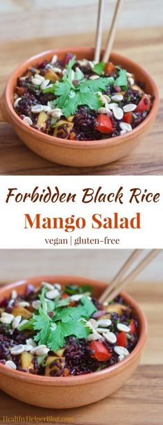 Forbidden Black Rice Mango Salad | Healthy Helper @Healthy_Helper You'll experience a taste and flavor explosion upon first bite of this incredible Forbidden Black Rice Mango Salad. Sweet, savory, crunchy, and chewy...this vegan and gluten-free side dish has everything you crave. Filling, nutrient dense, and so tasty!