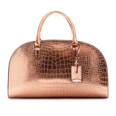 Jil Sander Novarra Metallic Leather Bowling Bag ($1,767) ❤ liked on Polyvore