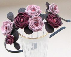Items similar to Pink burgundy flower headband leather roses moss green leaves on black metal hairband, floral wedding tiara woodland wedding on Etsy Kanzashi Flowers, Felt Flowers, Diy Flowers, Fabric Flowers, Felt Headband, Rose Headband, Floral Headbands, Baby Hair Bands, Crafts Beautiful