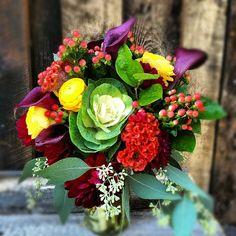 Anna's Bouquet // Calla Lilies, Dahlias, Hypericum Berry, Cockscomb, Seeded Eucalyptus and Kale.  #Breckenridge #Colorado #wedding #flowers #florist #bride #bouquet #sumco