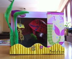 {Cardboard Box Aquarium} my kids never ever get tired of making these #CampSunnyPatch #UnderTheSea