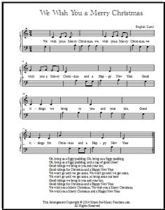 We Wish You A Merry Christmas Sheet Music and Song for Kids! | Christmas sheet music, Sheet ...