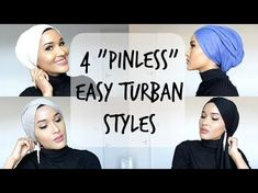 Hijab and Turban Tutorial | Simple and quick hijab styles using no pins! - YouTube
