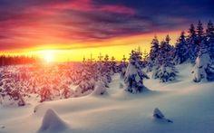 Обои snow, снег, природа, зима, landscape, white, sunset, небо, sky, nature, пейзаж, winter