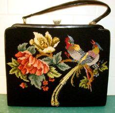 Vintage needlepoint & petit point bag purse birds of paradise big black tapestry Vintage Purses, Vintage Bags, Vintage Handbags, Vintage Shoes, Vintage Costumes, Vintage Outfits, Tapestry Bag, Beaded Purses, Purses And Handbags