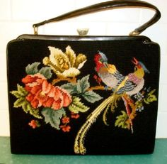 Vintage needlepoint & petit point bag purse birds by UrbanAnthro, $300.00