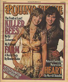 Nancy Wilson, Ann Wilson, Heart, band on the cover of the Rolling Stone! Nancy Wilson Heart, Rolling Stone Magazine Cover, Wilson Sisters, Rock & Pop, Peter Frampton, Women Of Rock, Rockn Roll, Concert Posters, Film Posters