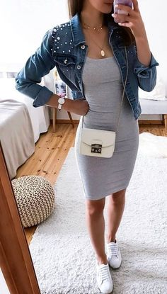 Casual Dress Outfits, Cute Casual Outfits, Mode Outfits, Summer Outfits, Gray Dress Outfit, Dressy Fall Outfits, Gray Outfits, Dress Shoes, Shoes Heels