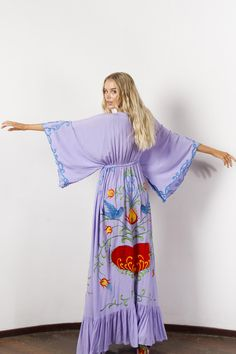 """""""Strange Magic"""" Women's embroidered duster - Lavender Fillyboo - Boho inspired maternity clothes online, maternity dresses, maternity tops and maternity jeans. Maternity Clothes Online, Maternity Tops, Maternity Dresses, Maternity Jeans, Maxi Dresses, Maxi Robes, Hippie Dresses, Bohemian Dresses, Batwing Sleeve"""