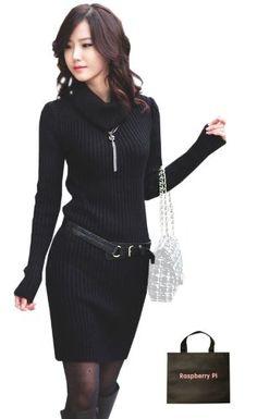 Amazon.co.jp: (ラズベリーパイ) RaspberryPi エレガンス ファッション ストレッチ ニット ワンピース オリジナルエコバッグセット qq200rp (ブラック) [ウェア&シューズ]: 服&ファッション小物通販