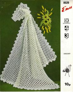 PDF Digital Vintage Crochet Pattern Baby Christening Shawl 3 ply, 4 ply and Double Knitting