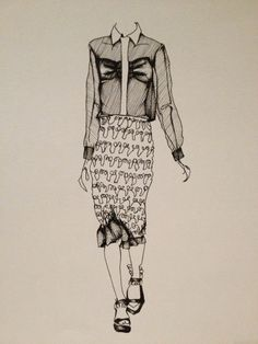 Fashion Illustration - monochrome, hand drawn fashion sketch; pen drawings // Josie Hall