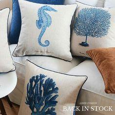 Hamptons House, The Hamptons, Home Furniture, Cushions, Throw Pillows, Bed, Toss Pillows, Toss Pillows, Home Goods Furniture