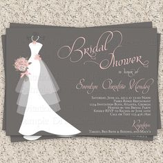 Bridal Shower Invitation, Wedding Shower Invitations - Dress on Hanger - Printable Bridal Shower Invitation on Etsy, $10.99