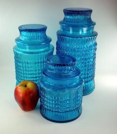 Teal glass canisters vintage kitchen canisters atterbury scroll imperial glass aqua - Blue glass kitchen canisters ...